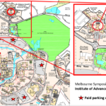 Melbourne 2016 Symposium Map showing the building NR8 and paid parking areas